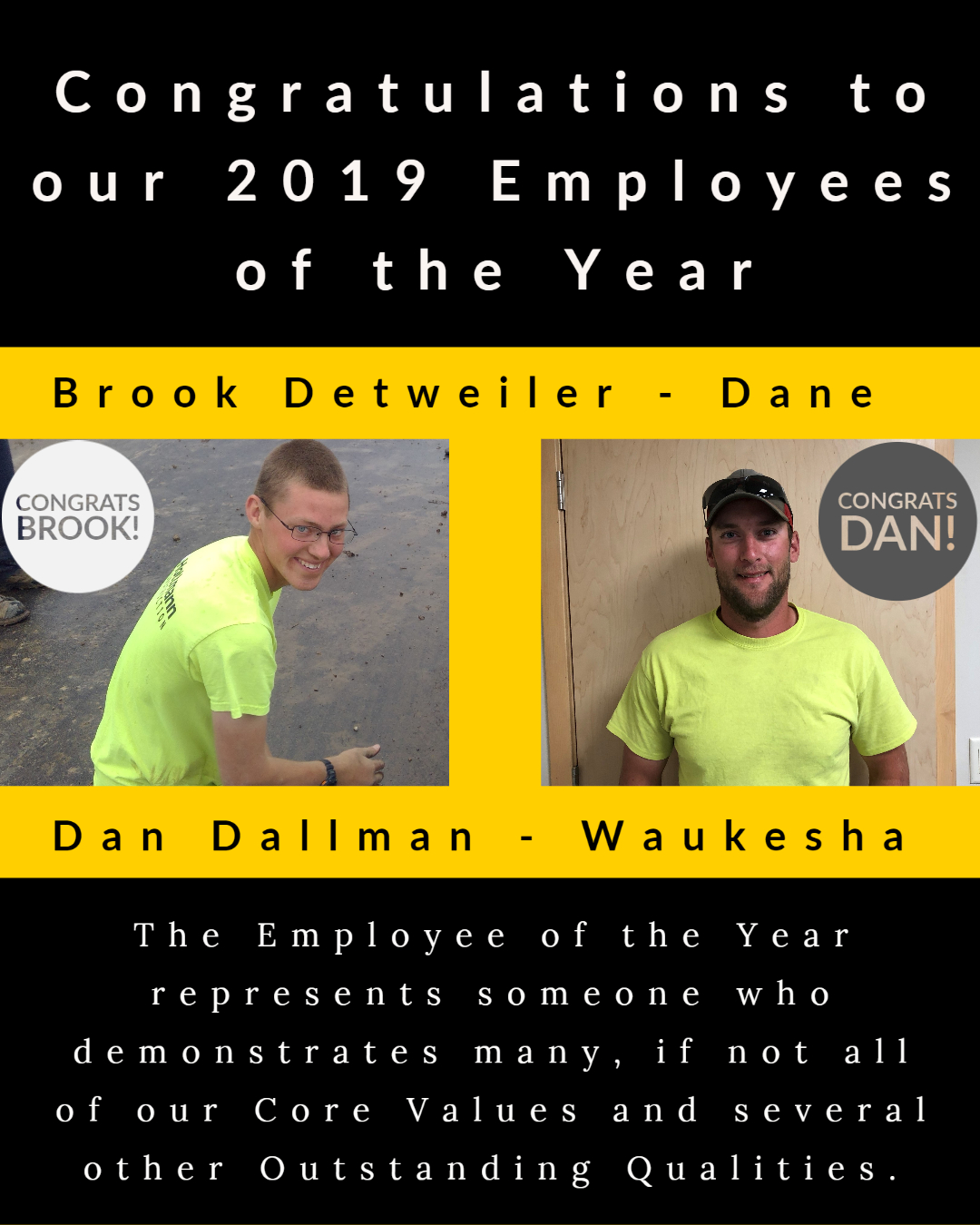 Congratulations to Hottmann Construction's 2019 Employees of the Year!